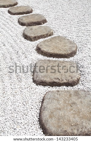 Zen stone path in a Japanese Garden - stock photo