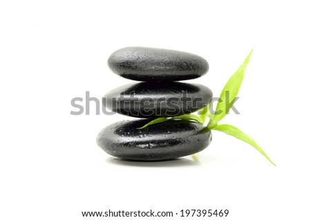 Zen stone with bamboo leaf on white background. Spa concept - stock photo