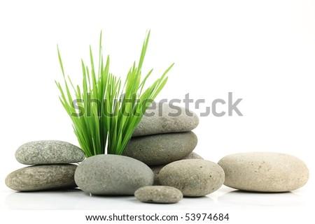 Zen stone with fresh grass on white background - stock photo