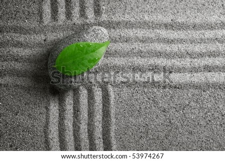 zen stone with leaf - stock photo
