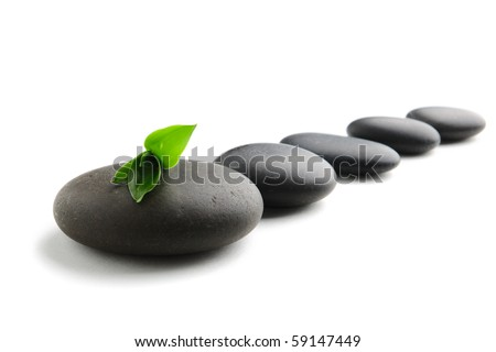 Zen stones and bamboo on the white background - stock photo