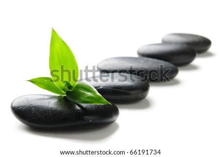 zen stones and green bamboo isolated on white - stock photo