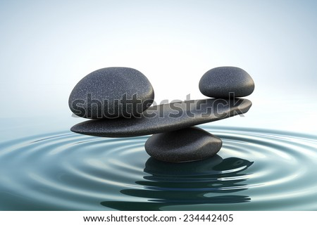 Zen stones balance. Sunrise - stock photo