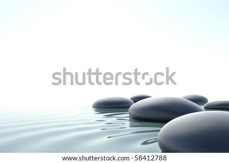 Zen stones in a zen water - stock photo