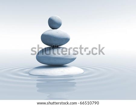 zen - stones in balance - stock photo