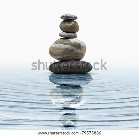 Zen stones in water - stock photo