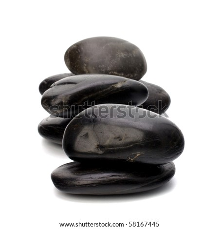 zen stones isolated on the white background - stock photo