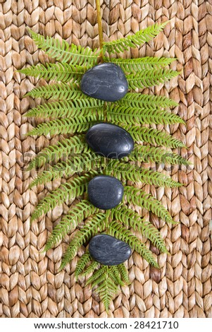 Zen Stones on a grass mat with a fern isolated on white - stock photo