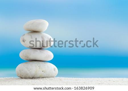 Zen Stones on the beach - stock photo