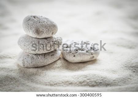 zen  stones  on the sand - stock photo