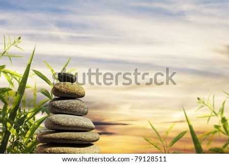 Zen Stones Tower with background - stock photo