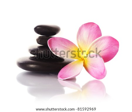 zen stones with frangipani flower on white - stock photo