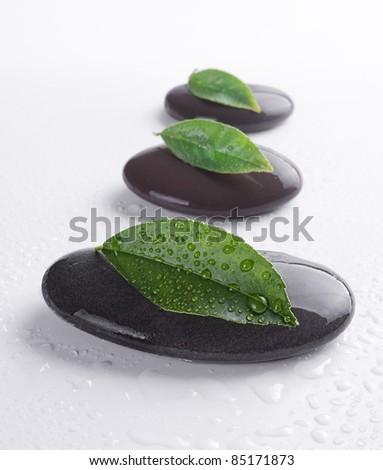 Zen stones with leaves and water drops on white background.Shallow DOF - stock photo
