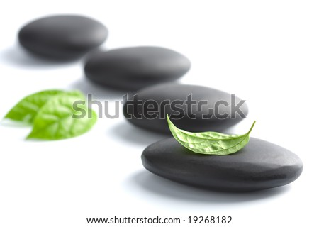 zen stones with leaves isolated. spa background - stock photo