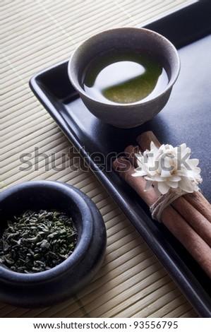 zen style green tea - stock photo