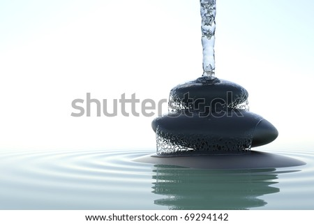 zen waterfall on the stones in water - stock photo