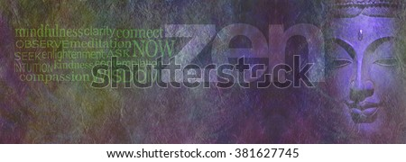 Zen Wisdom banner - wide rough stone effect multicolored background with a partial Buddha head on right next to the word ZEN and word cloud on far left with copy space beneath - stock photo