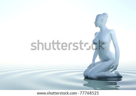 Zen woman in water with waves on white background - stock photo