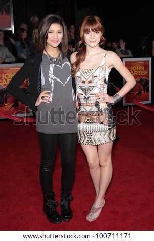 "Zendaya and Bella Thorne at the ""John Carter"" Los Angeles Premiere, Regal Cinemas, Los Angeles, CA 02-22-12 - stock photo"