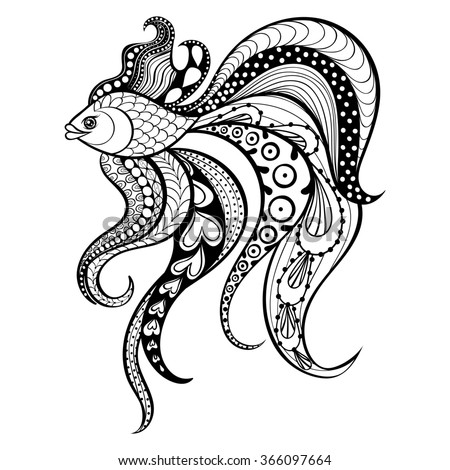 Zentangle Gold Fish Tattoo Boho Hipster Stock Illustration