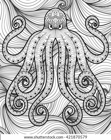 Zentangle octopus in sea for adult coloring page A4 size. Hand drawn artistically ethnic ornamental patterned illustration. Sea Animal collection. Isolated Sketch for tattoo, posters, t-shirt design. - stock photo