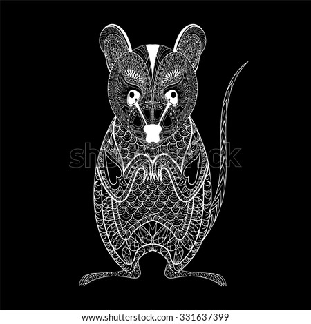 Zentangle Possum totem for adult anti stress Coloring Page for art therapy, illustration in doodle style. Monochrome sketch with high details isolated on black background - stock photo