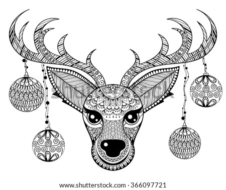 Zentangle Reindeer Face With Chriatmas Decoration Balls For Adult Anti  Stress Coloring Pages In Doodle Hand