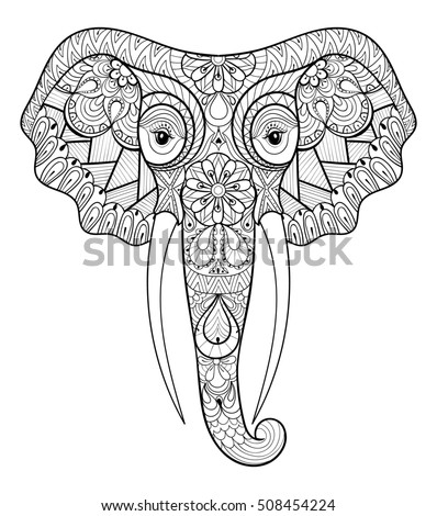 zentangle stylized ethnic indian elephant freehand sketch for adult anti stress coloring page book