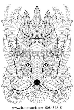 Zentangle Stylized Fox Moustache On Flowers Stock Vector 461357314 ...