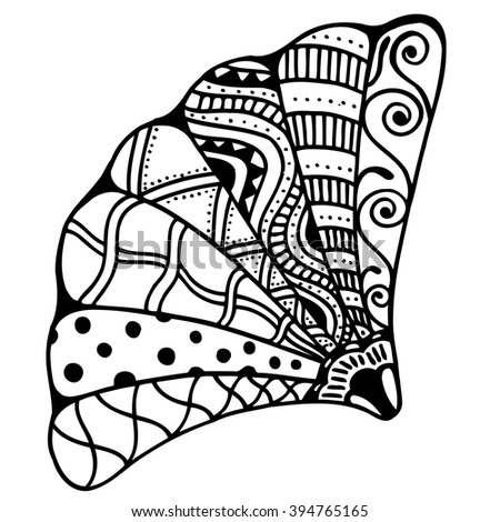 Zentangle stylized shell. Hand Drawn aquatic doodle Art illustration. Sketch for tattoo or makhenda. Seashell collection. Ocean life.