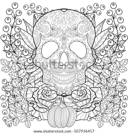 Zentangle Stylized Skull With Pumpkin Rose Sunflower For Halloween Freehand Sketch Adult