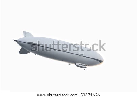 Zeppelin airship - isolated on white - stock photo