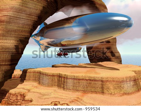 Zeppelin flying under stone arches - stock photo