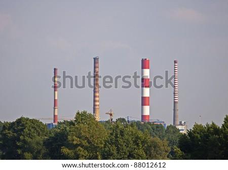 Zeran CHP chimneys in Warsaw - stock photo