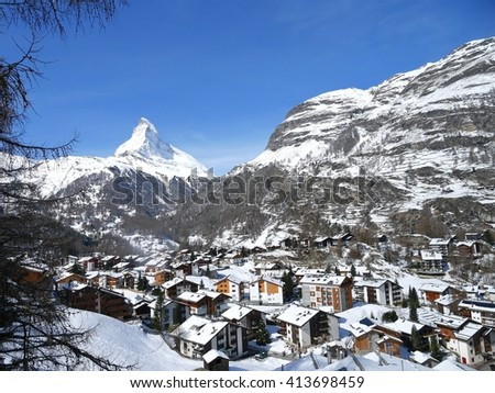 ZERMATT, SWITZERLAND - APRIL 10: Zermatt is well known as a platform for skiing and mountaineering. The famous summit is Matterhorn. April 10, 2016 Zermatt, Switzerland - stock photo