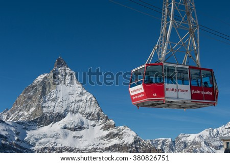 Zermatt, Switzerland â?? January 25, 2016: Cable car to Matterhorn Glacier Paradise at Zermatt, Switzerland - stock photo