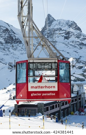 Zermatt, Switzerland January 25, 2016: Cable car to Matterhorn Glacier Paradise at Zermatt, Switzerland - stock photo