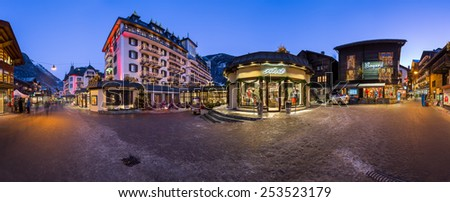 ZERMATT, SWITZERLAND - JANUARY 7: Panorama of Zermatt in Switzerland on January 7, 2015. Zermatt is the car free famous ski resort town in the Swiss Alps at the base of the Matterhorn. - stock photo