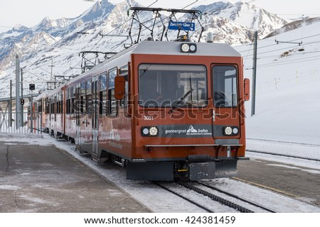 Zermatt, Switzerland January 26, 2016: Train from Zermatt to Gornergrat at Zermatt, Switzerland - stock photo