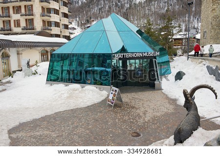 ZERMATT, SWITZERLAND - MARCH 04, 2009: Exterior of the Matterhorn museum entrance in Zermatt, Switzerland.  - stock photo