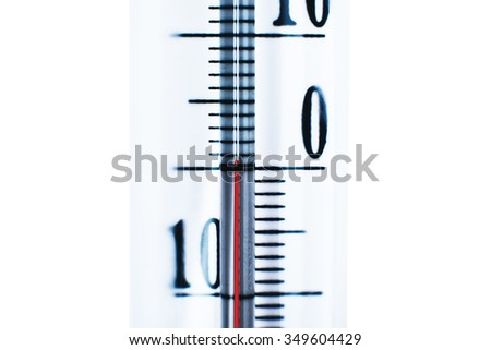 zero degrees outside thermometer, cold, freezing, cold weather in the street - stock photo
