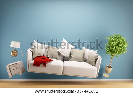 Zero Gravity Sofa hovering in living room with furniture (3D Rendering) - stock photo