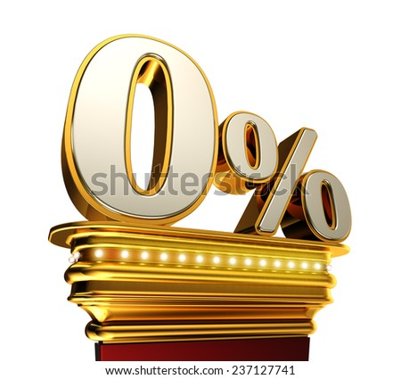 Zero percent figure on a golden platform with brilliant lights over white background - stock photo