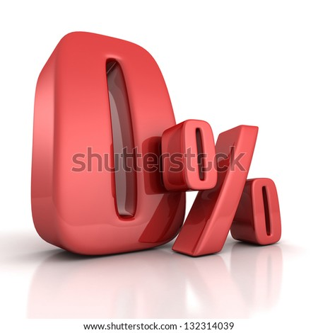 zero percent red curved sign on white background - stock photo