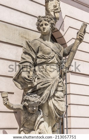 Zeughaus (old Arsenal) in Berlin - oldest structure at Unter den Linden. It was built by Brandenburg Elector Frederick III between 1695 and 1730 in baroque style. Architectural fragments. - stock photo