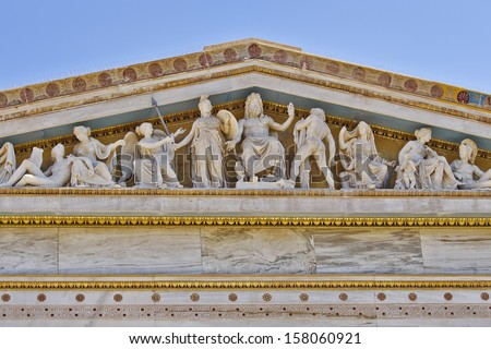 Zeus, Athena and other ancient Greek gods and deities, national university of Athens Greece neoclassical building detail  - stock photo