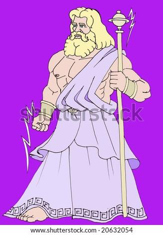Zeus on a violet background - stock photo