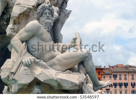 Zeus sculpture, by Bernini, Fontana dei Quattro Fiumi, Piazza Navona, Rome, Italy - stock photo