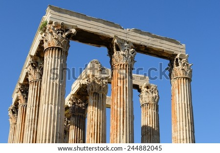 Zeus temple , Athens Greece - stock photo