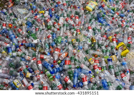 Zhangjiajie, China - March 24, 2016: Tones of plastic bottles in an undisclosed recycling facility in Zhangjiajie National Park, China. - stock photo